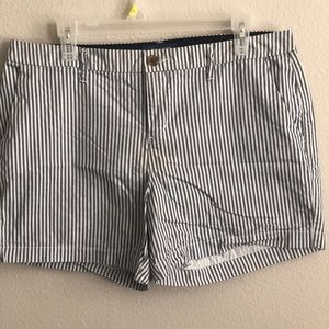 Grey and white casual stripe shorts